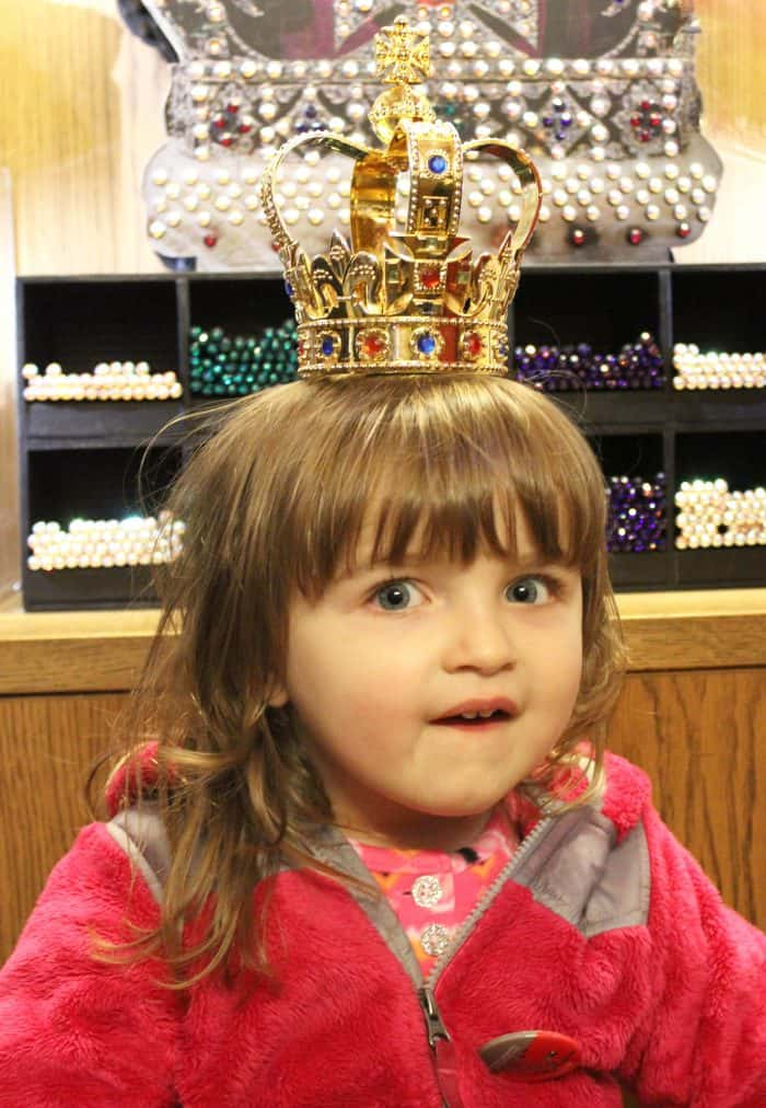 Fun things for kids to do in London - try on a crown at The Tower of London