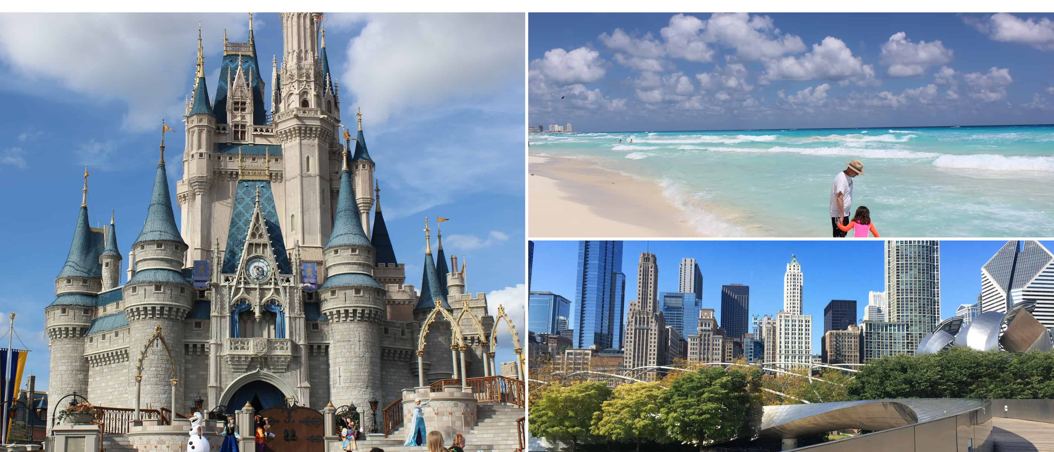 Disney castle, Cancun beach and downtown Chicago