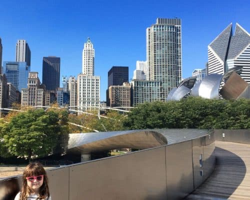 Things for kids to do in Chicago - visit Millenium Park with view of Chicago skyline