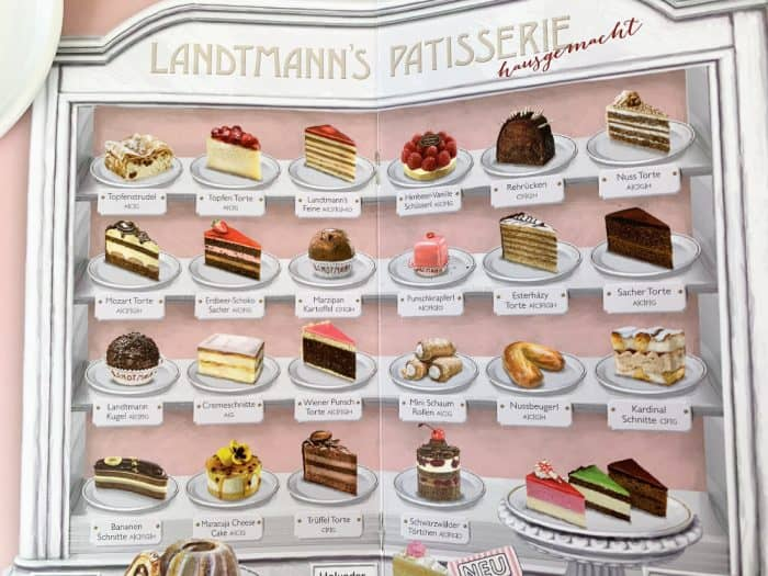 Picture of a patisserie menu - Pink background with 4 rows of 6 pictures showing different desserts available