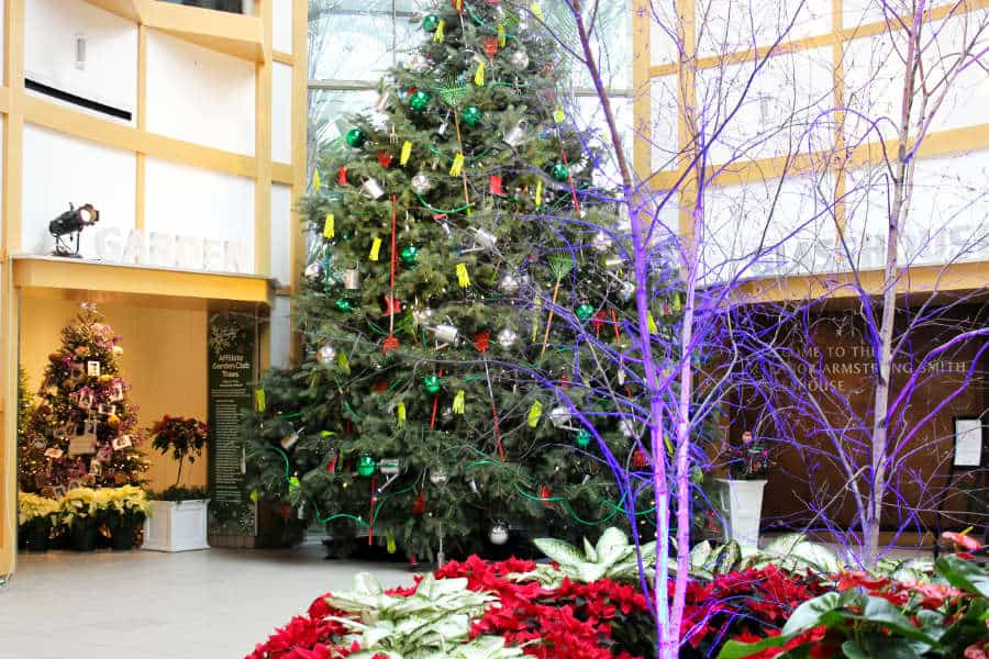 Large decorated Christmas tree in a center court of a museum