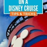 White Mickey head against a red background with blue waves with blue sky and white clouds in background with the text Connect at Sea on a Disney Cruise