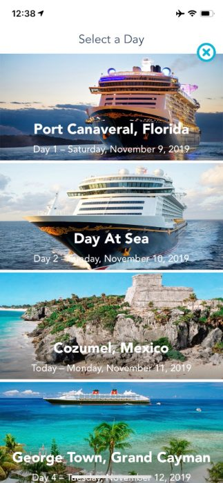 Cell phone app showing 'Select a Day' and then 4 pictures of where the cruise ship was going
