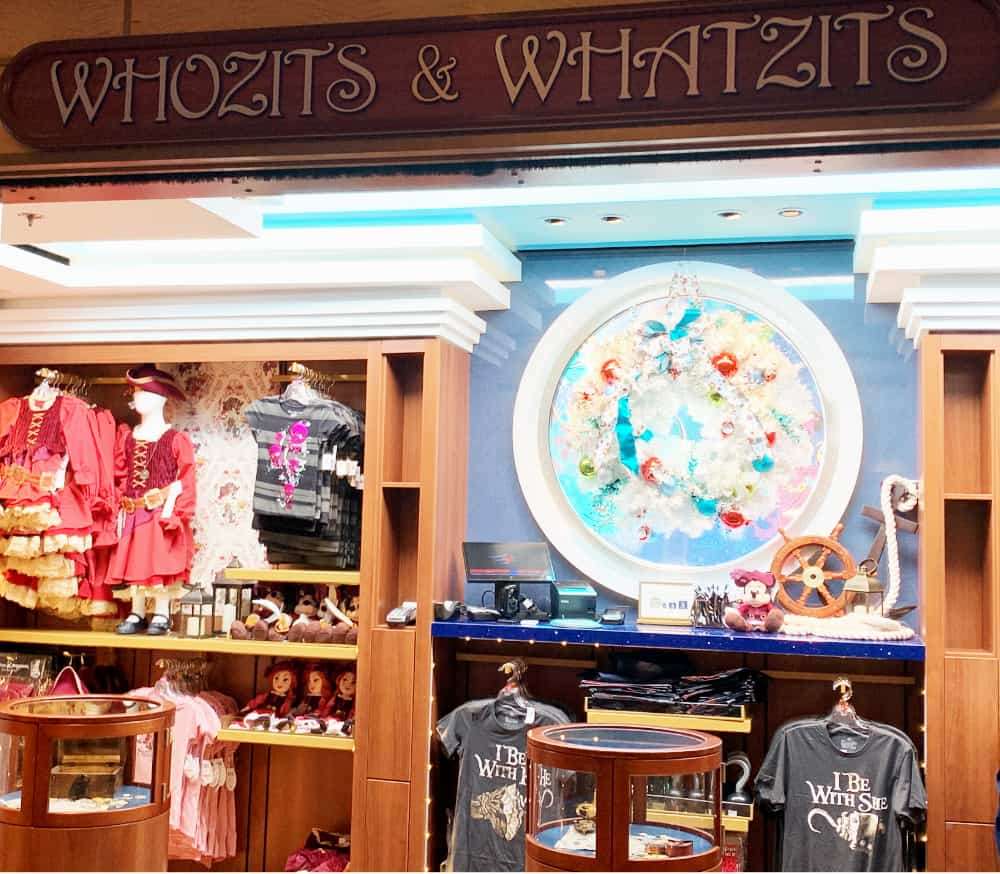 Store called Whozits and Whatzits selling pirate accessories such as dresses and shirts
