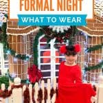 Little girl in red dress standing in front of a life sized gingerbread house with white icing, greenery and a white picket fence under a text overlay reading Disney Cruise Formal Night - What to wear