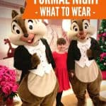 Two people dressed up as chipmunks wearing formal attire and a little girl in red dress in front of red poinsettia flowers under text reading Disney Cruise formal night - what to wear