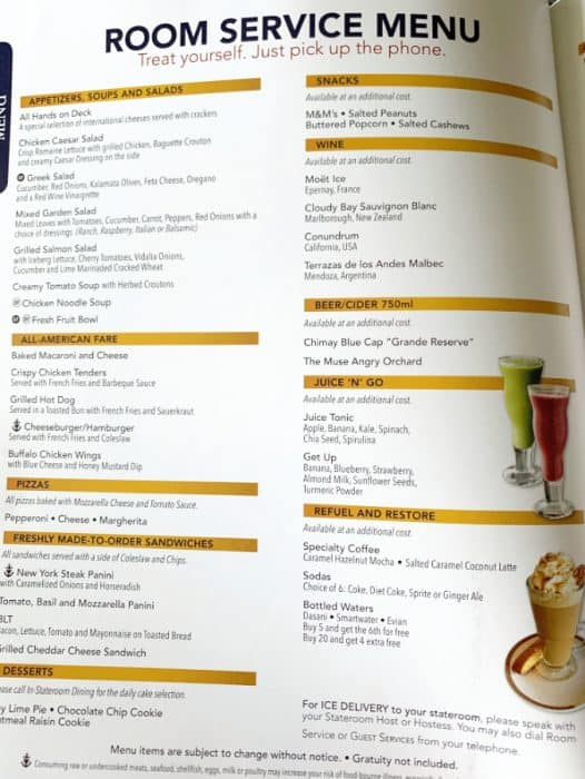 Disney cruise room service menu listing food and beverage items available to order