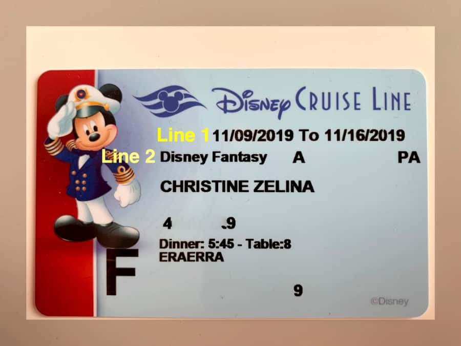 Blue, with red stripe on left as well as Mickey Mouse, Disney Cruise Line Key to the World card highlighting cruise dates and ship name