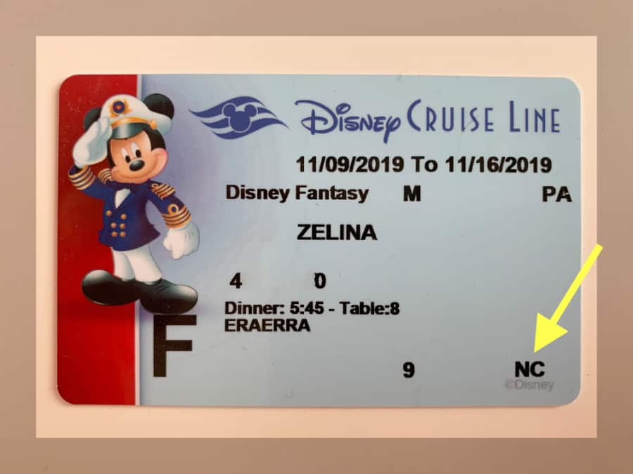 Disney Cruise line card with an arrow pointing to NC meaning No charging privileges