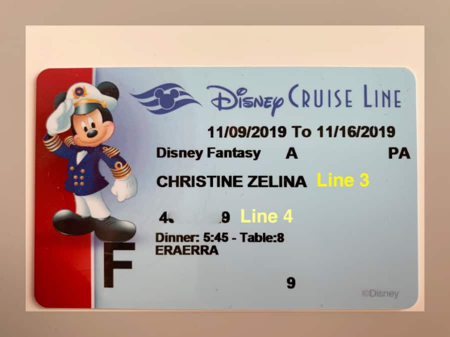 Blue Disney Cruise Line Key to the World card highlighting name and castaway club number