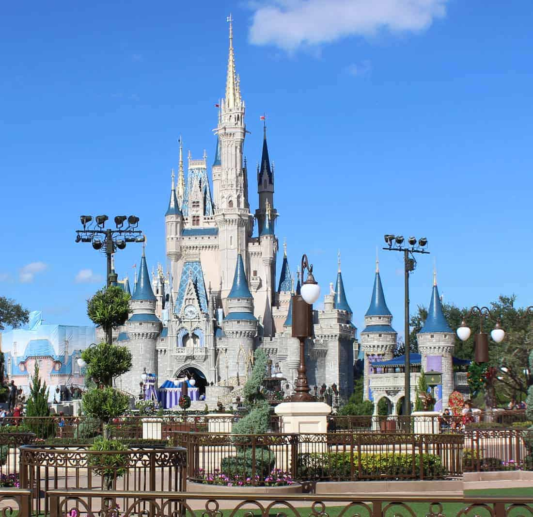 Cinderella's castle at Disney World with blue sky behind