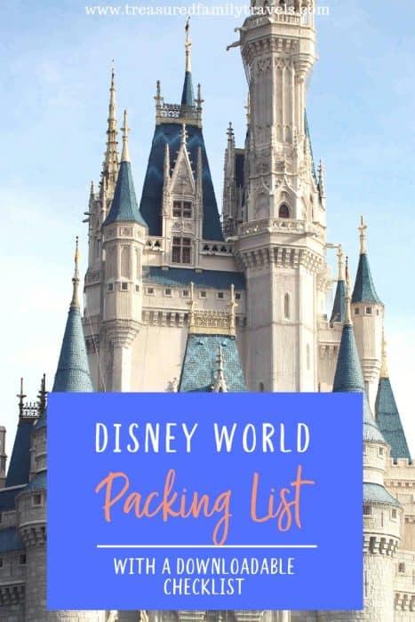 Disney World Packing List print on top of Cindarella's castle