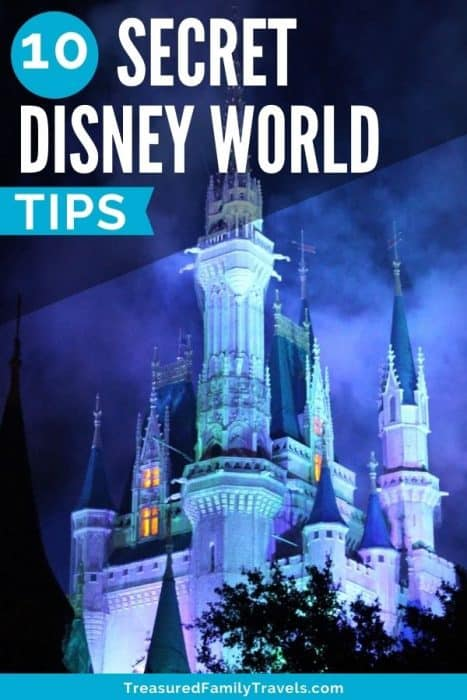 White blue glowing castle at nighttime with smoke surrounding it with a black triangle overlay at the top left with white text reading 10 secret Disney World tips