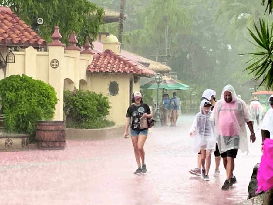People wearing clear rain ponchos standing in the rain at Disney World