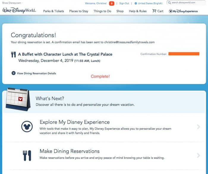 Dining reservation confirmed text for a Disney character dining reservation.