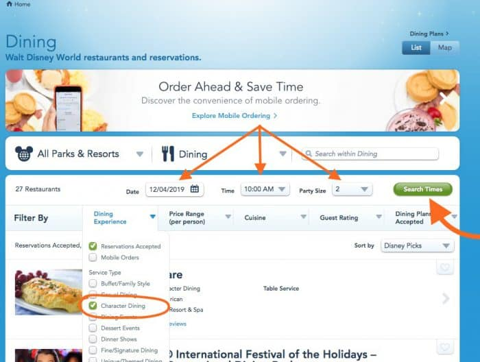 Screen shot of how to search for available Disney character dining reservations.