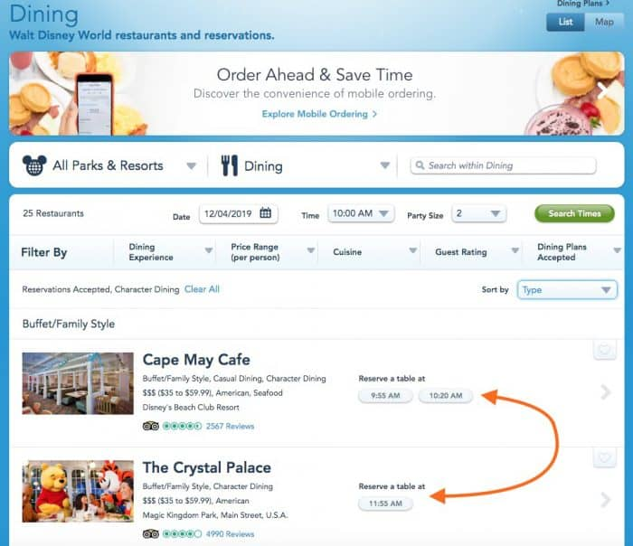 Screen shot of Disney character dining reservation showing available times at each restaurant.