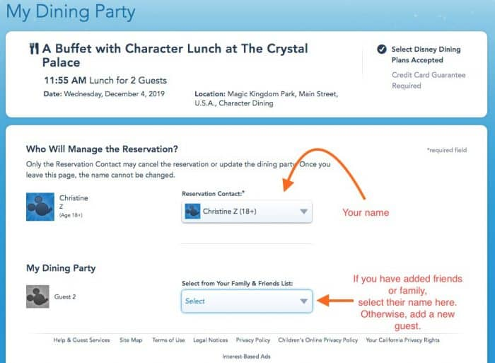 Screen shot of adding guests name to a Disney character dining reservation.