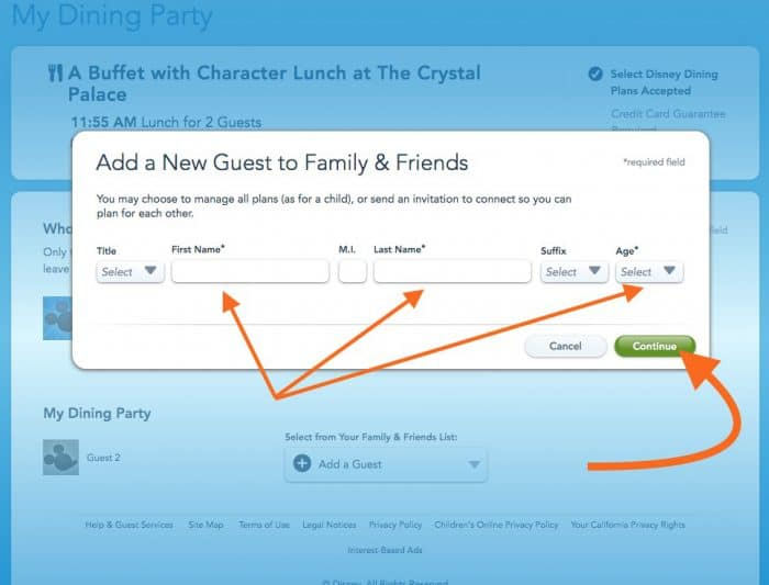 Screen shot of adding a new guest to your Disney character dining reservation.