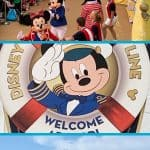 Three pictures: Disney cruise ship, Mickey Mouse welcome sign and Mickey and Gang dancing under text saying Disney cruise first day tips and advice