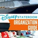 Disney cruise ship in top photo with Disney cruise cabin bedding with green blanket and blue sofa in bottom picture