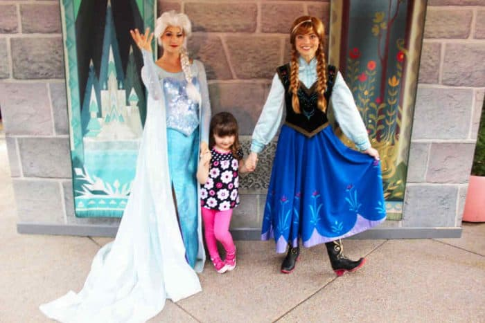 Disney princesses Elsa and Anna with young girl