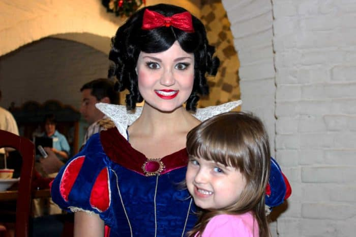 Disney princess Snow White and young girl