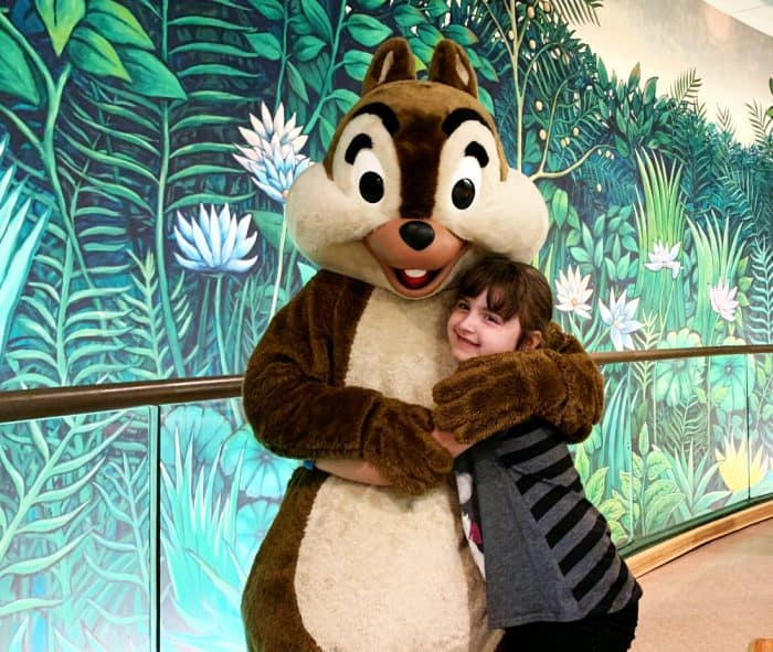 Little girl in gray shirt hugging a costumed chipmunk - Disney's Chip during a Disney character breakfast.