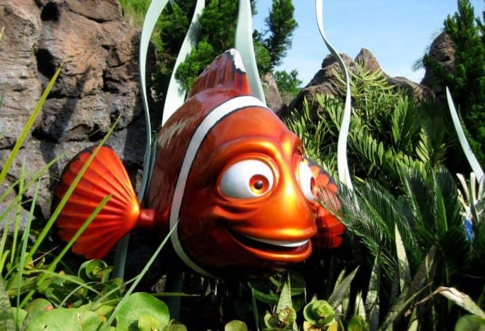 Big, bright orange clownfish representing Nemo at Epcot in Disney World.