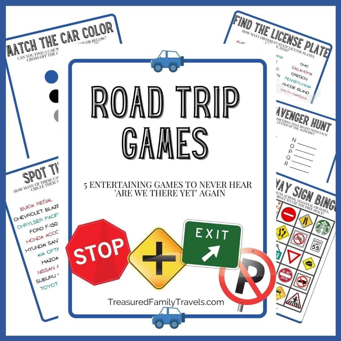Printable games fanned out around a title page