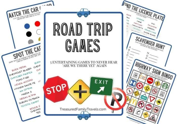 Pictures of 5 different printable games with a cover page titled Road Trip Games. All are on white paper outlined in navy blue with a steel gray lettering for the titles. Red, yellow and green signs and text throughout.