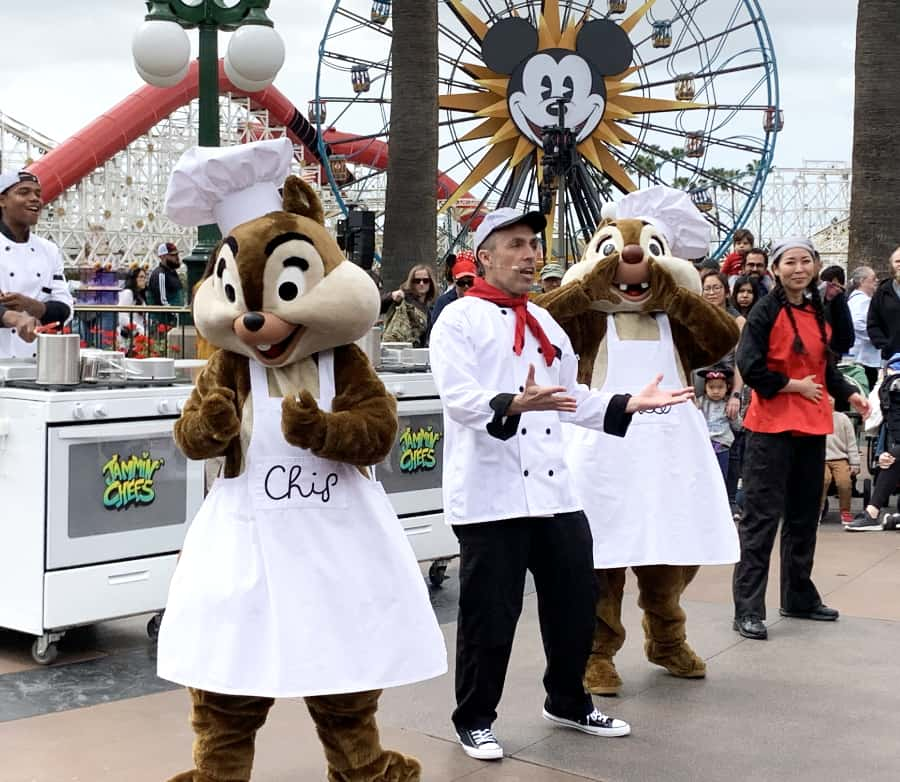 Disney's Chip and Dale and performers at the Jammin' Chefs celebration