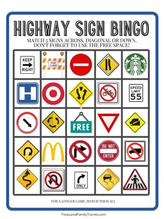 White bingo sheet with 5 rows and columns of boxes with pictures of various highway road signs. Gray steel lettering with title Highway Sign bingo at the top