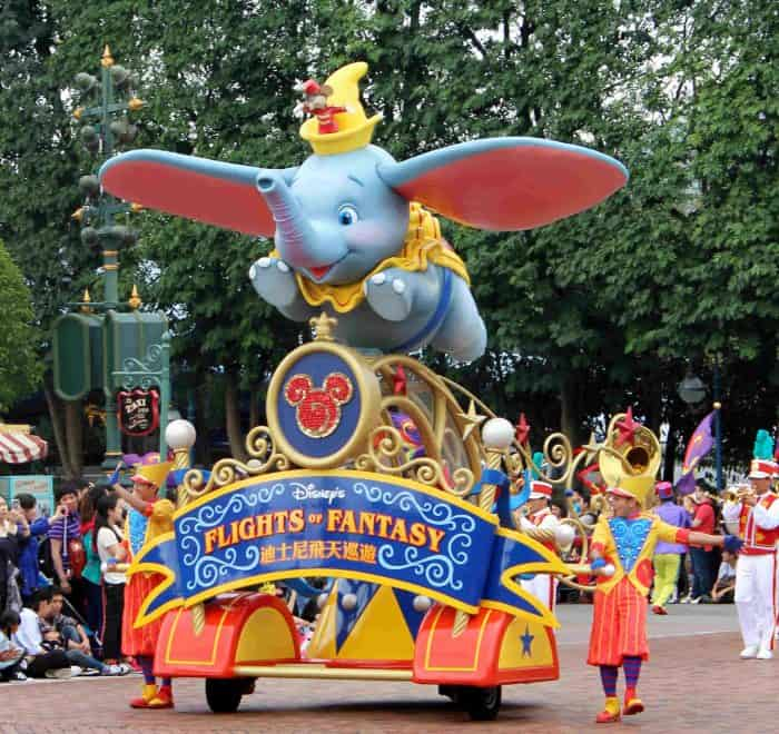 Hong Kong Disneyland Review - Flight of Fantasy parade Dumbo