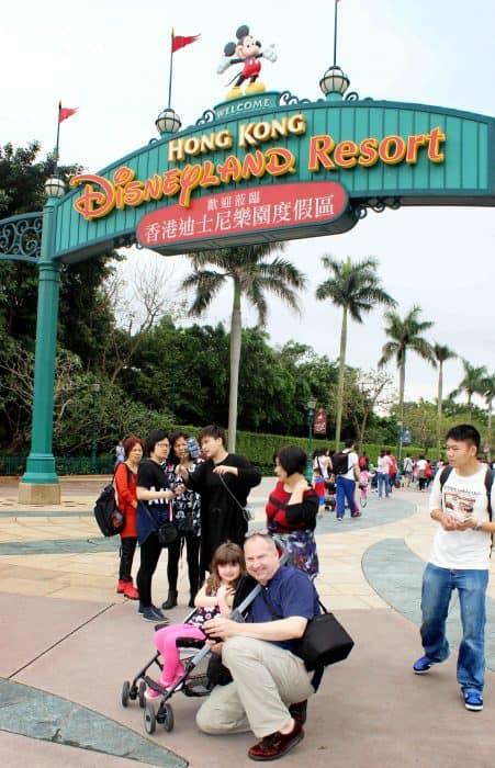 Hong Kong Disneyland Review - at the entrance sign