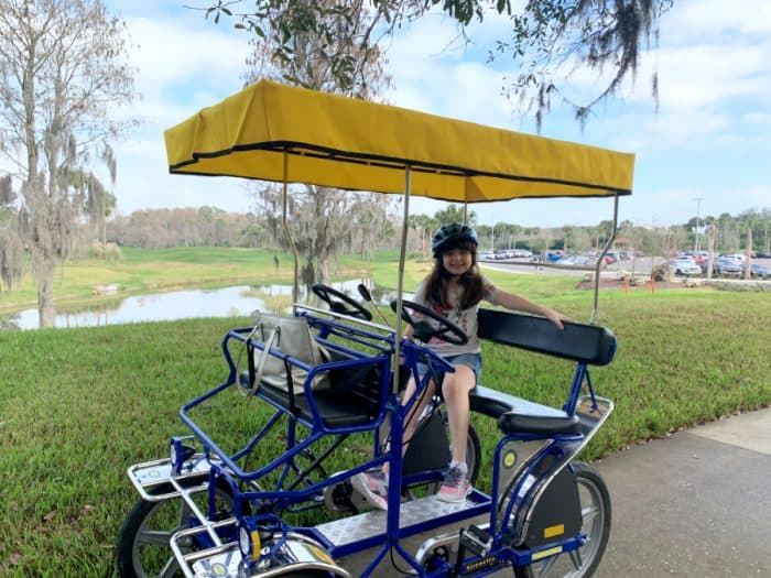 Little girl on a 2 seat surrey with canopy