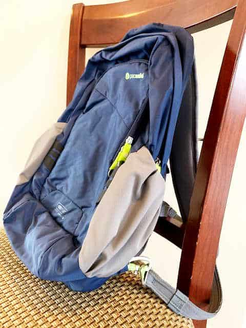 Pacsafe backpack locked to a chair
