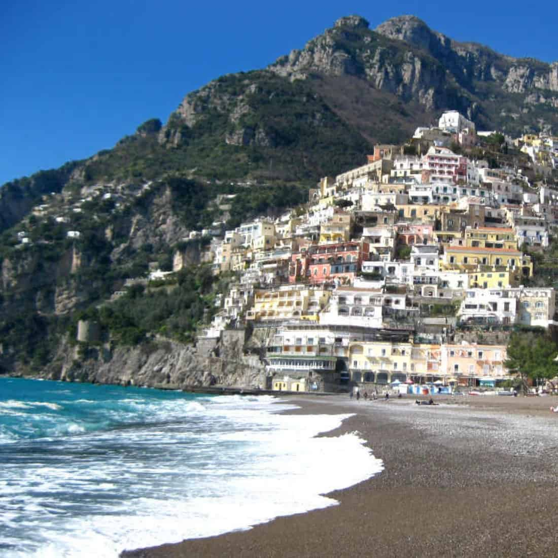 Positano beach and town on the hillside