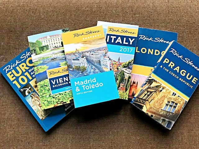 An array of European guide books by Rick Steves