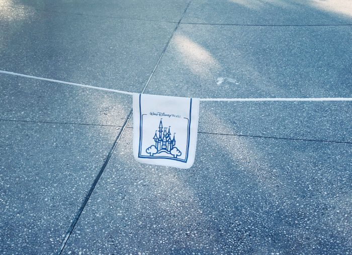 White rope with a white and blue Walt Disney World banner of a castle on it hanging over a pebbled piece of cement