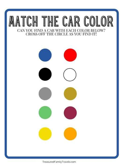White paper with navy blue trim and gray steel lettering at the top that reads 'Match the Car Color'; Two columns of 5 circles with different colors in them.