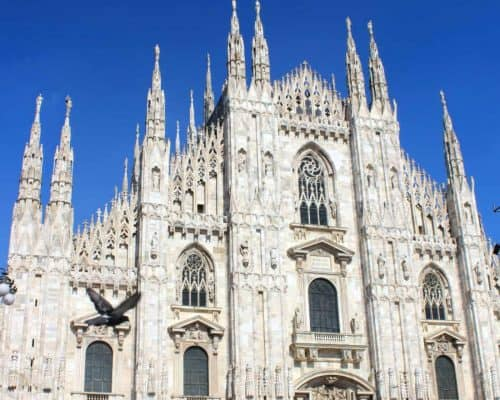 Duomo in Milan in front of a deep blue sky