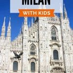 White cathedral with many spires and arches against a blue sky with text 'Milan with kids'