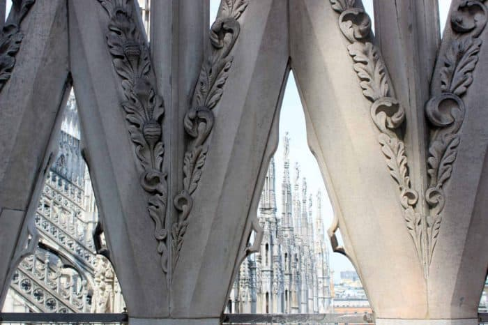 Terrace of Milan Duomo looking out seeing the other spires
