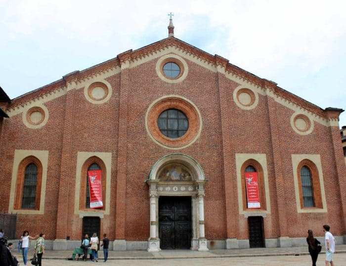 Outside of Church of Santa Maria della Grazie in Milan