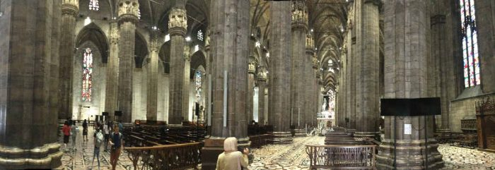 Inside the Milan Duomo with many columns