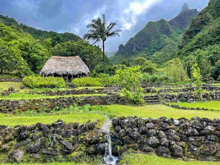 Rugged, rocky green mountains against a dark blue sky with a palm tree and thatched hut in Hawaii.