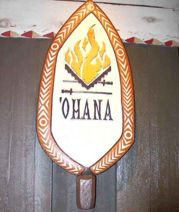 Ohana Character Breakfast Polynesian Ohana sign