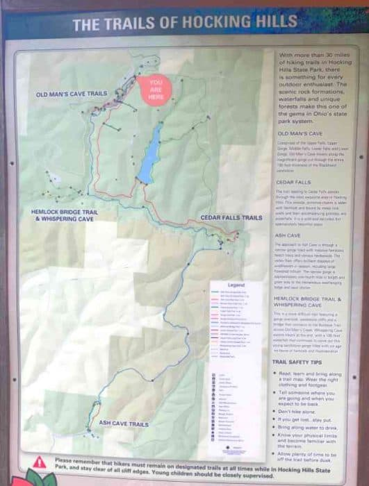 Picture of a trail map in Hocking Hills OH