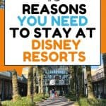 Tall palm trees on both sides of a paved walkway with buildings on either side and an orange, black and blue text overlay reading 10 reasons you need to stay at Disney Resorts.